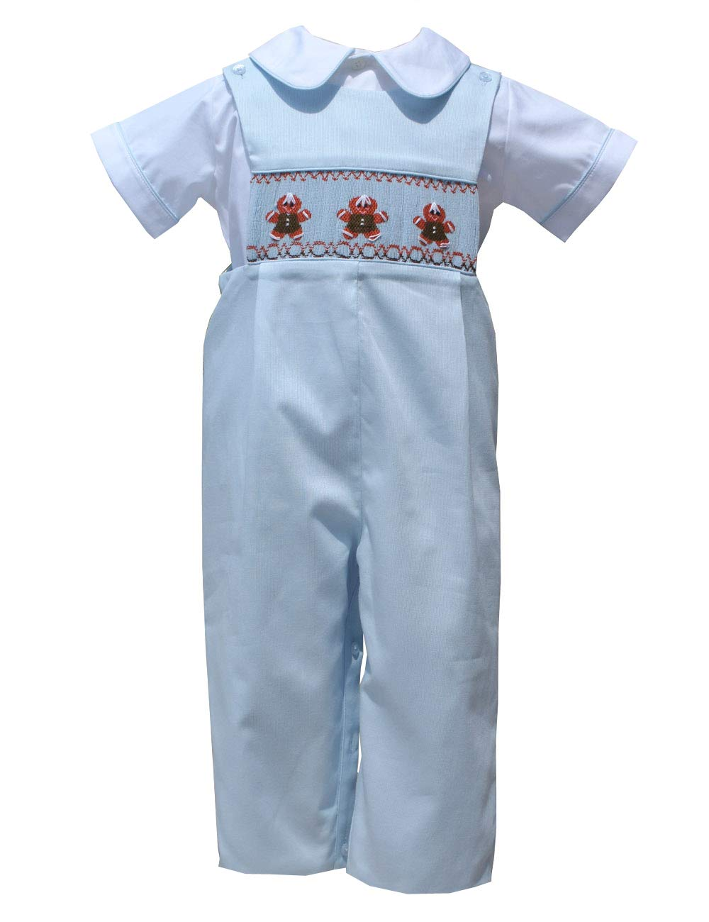 Carouselwear Baby Boy Smocked Gingerbread Boy Longall Toddler Outfit