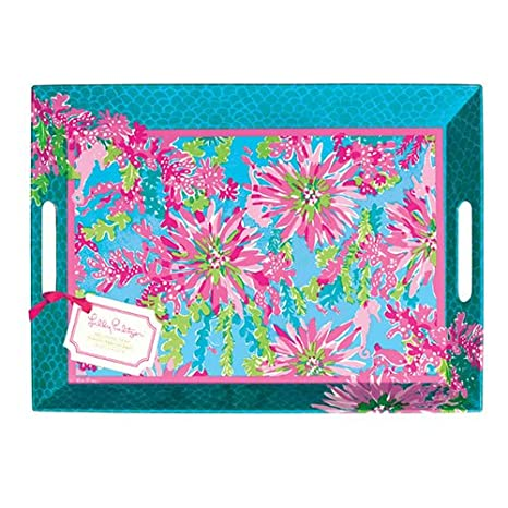 0b28081a6b4796 amazon com lilly pulitzer melamine tray trippin and sippin ...