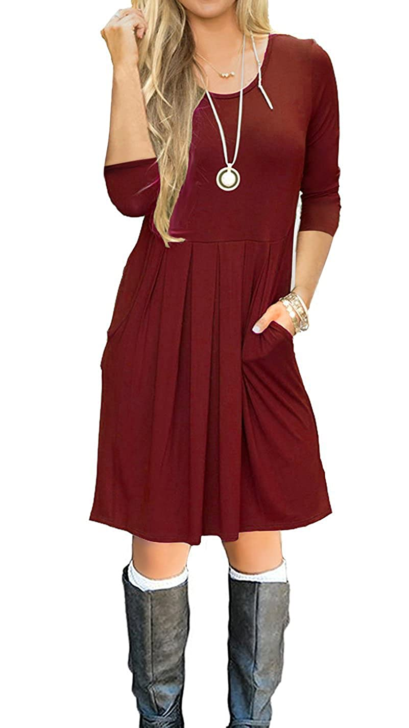 I2crazy DRESS レディース B0786VLS1Q M|Winered-3/4 Sleeve Winered-3/4 Sleeve M