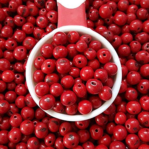 acai nut round beads 8-10mm Red, acai palm tree seed beads 8-10mm round. (100)