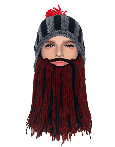 9e2abbf8bec Kafeimali Men s Head Barbarian Beanie Knight Beard Hats Halloween Knit Caps  (Bkbr)