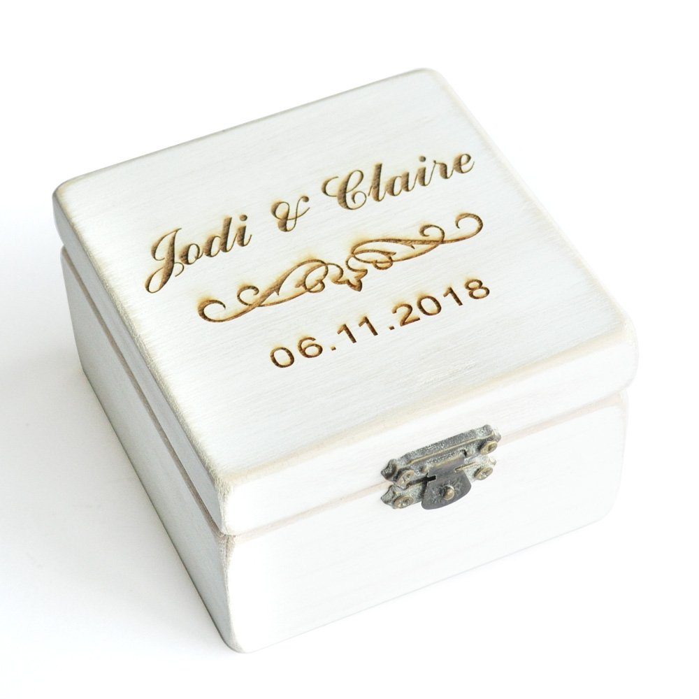 Vintage White Rustic Wedding Ring Box, Custom Wedding Ring Bearer Ring Pillow Box