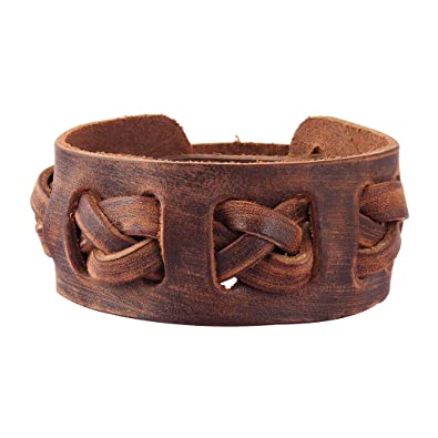1e6821688b1 COOLLA Antique Men's Brown Leather Cuff Bracelet, Leather Wrist Band  Wristband Handcrafted Jewelry SL2258