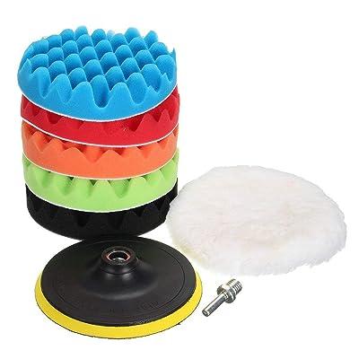 MATCC 7Pcs 6inch Polishing Pads Buffing Wheel for Drill Woolen Polishing Waxing Buffing Pads Car Polisher Kits Backing pad with M14 Drill Adapter: Automotive