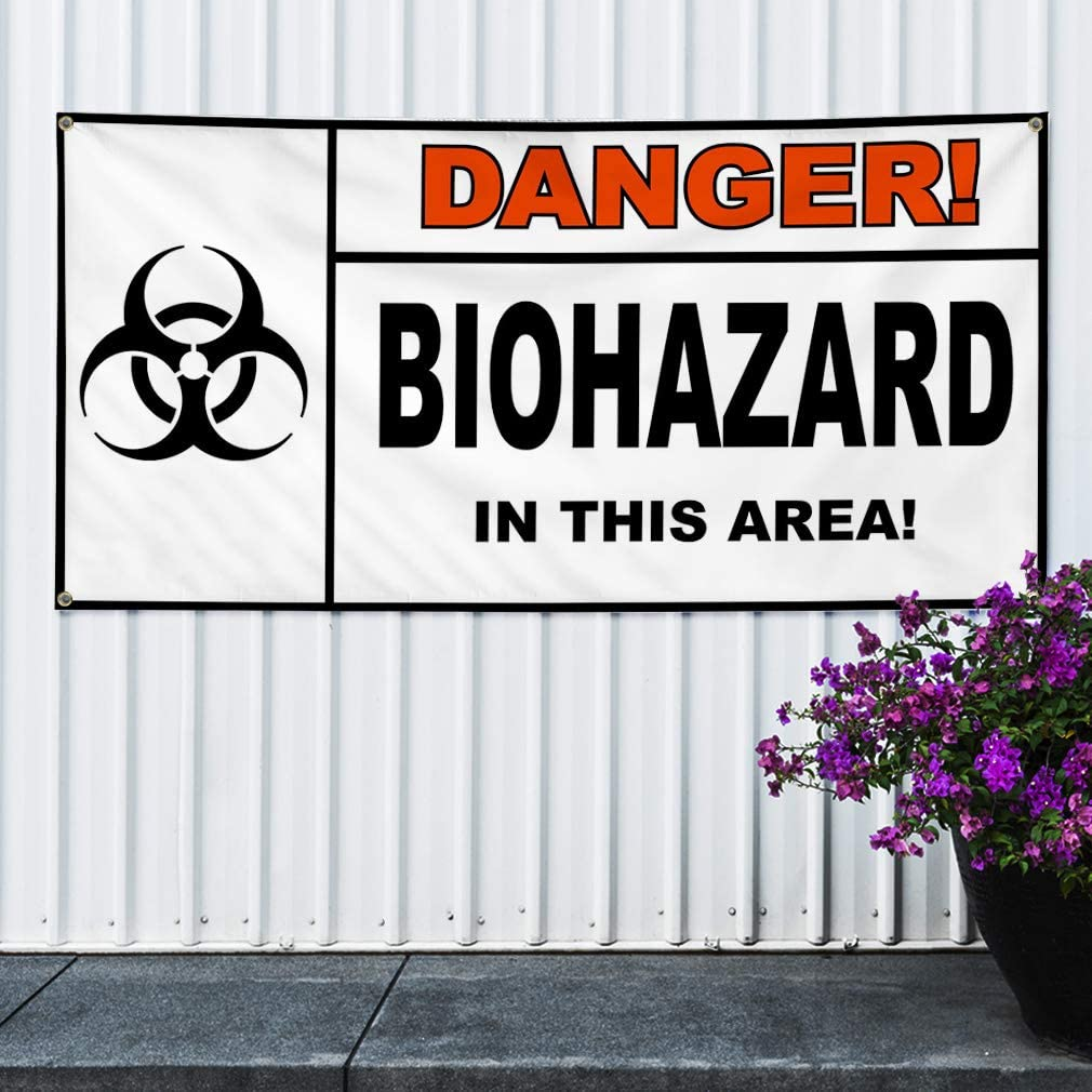Set of 2 Vinyl Banner Sign Danger Biohazard White Black Biohazard Marketing Advertising White Multiple Sizes Available 6 Grommets 32inx80in