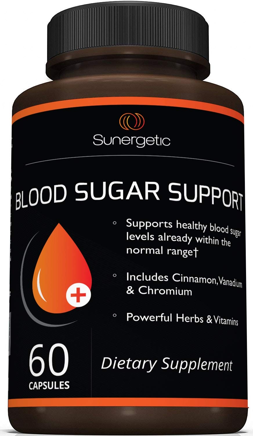 Premium Blood Sugar Support Supplement - Helps Support Healthy Blood Sugar & Glucose Levels - Includes Bitter Melon Extract, Vanadium, Chromium, Cinnamon, Alpha Lipoic Acid (60 Capsules) by Sunergetic