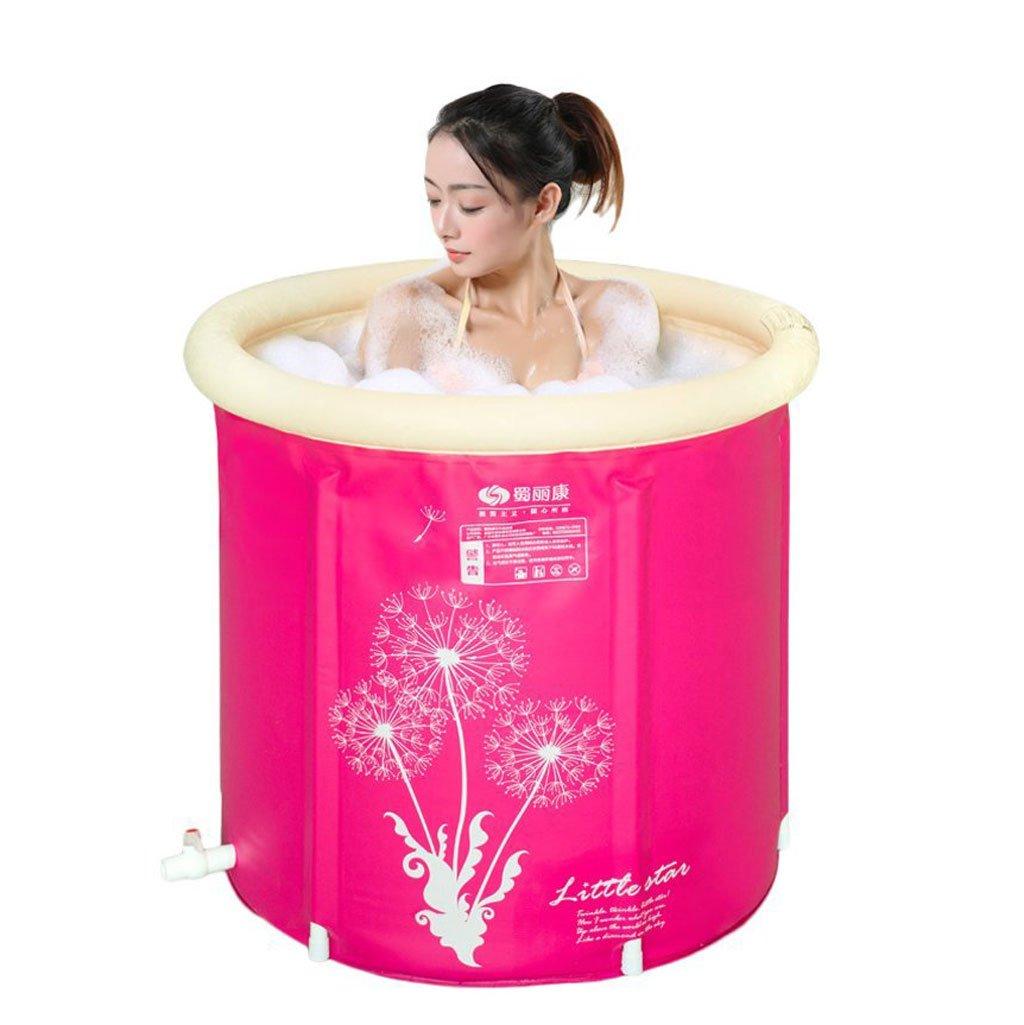 Faltbare Badewanne Rosa aufblasbare Badewannen-tragbares faltendes verdicktes bequemes tränkendes aufblasbares Pool-Badezimmer-Haus BADEKURORT der Wanne-Kinder (Größe   70  75cm)