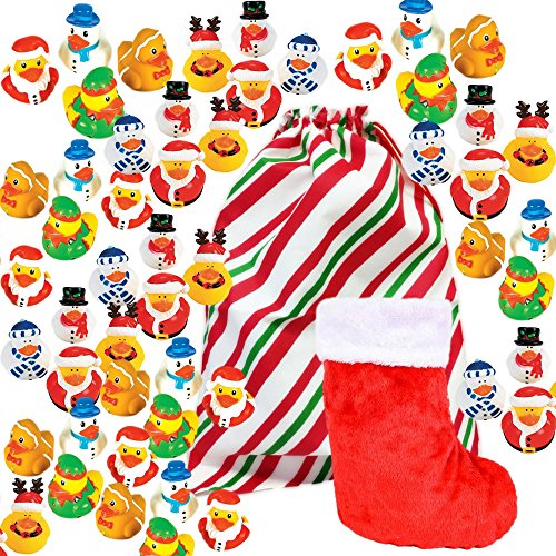 Christmas Rubber Ducks Bulk Variety Pack Assortment Of 48 Duckies   1 Stocking   1 Jumbo Drawstring Holiday Gift Bag   Party Favors  Stocking Stuffers  Classroom Prizes  Kids Giveaways