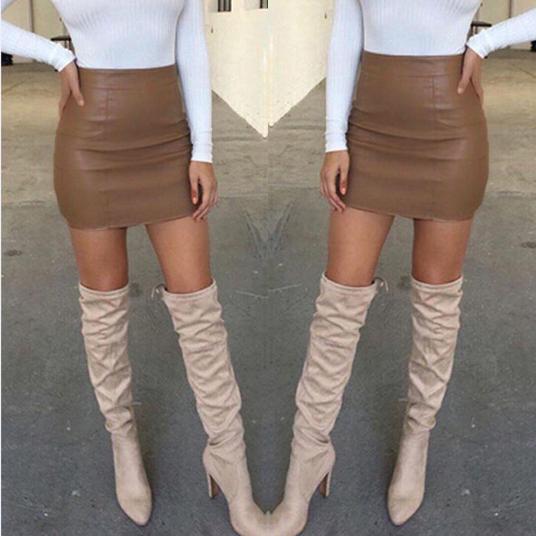 FNKDOR Mujeres Bandage Leather High Cintura Lápiz Bodycon Hip Short Mini  Falda (M 5e90e443134