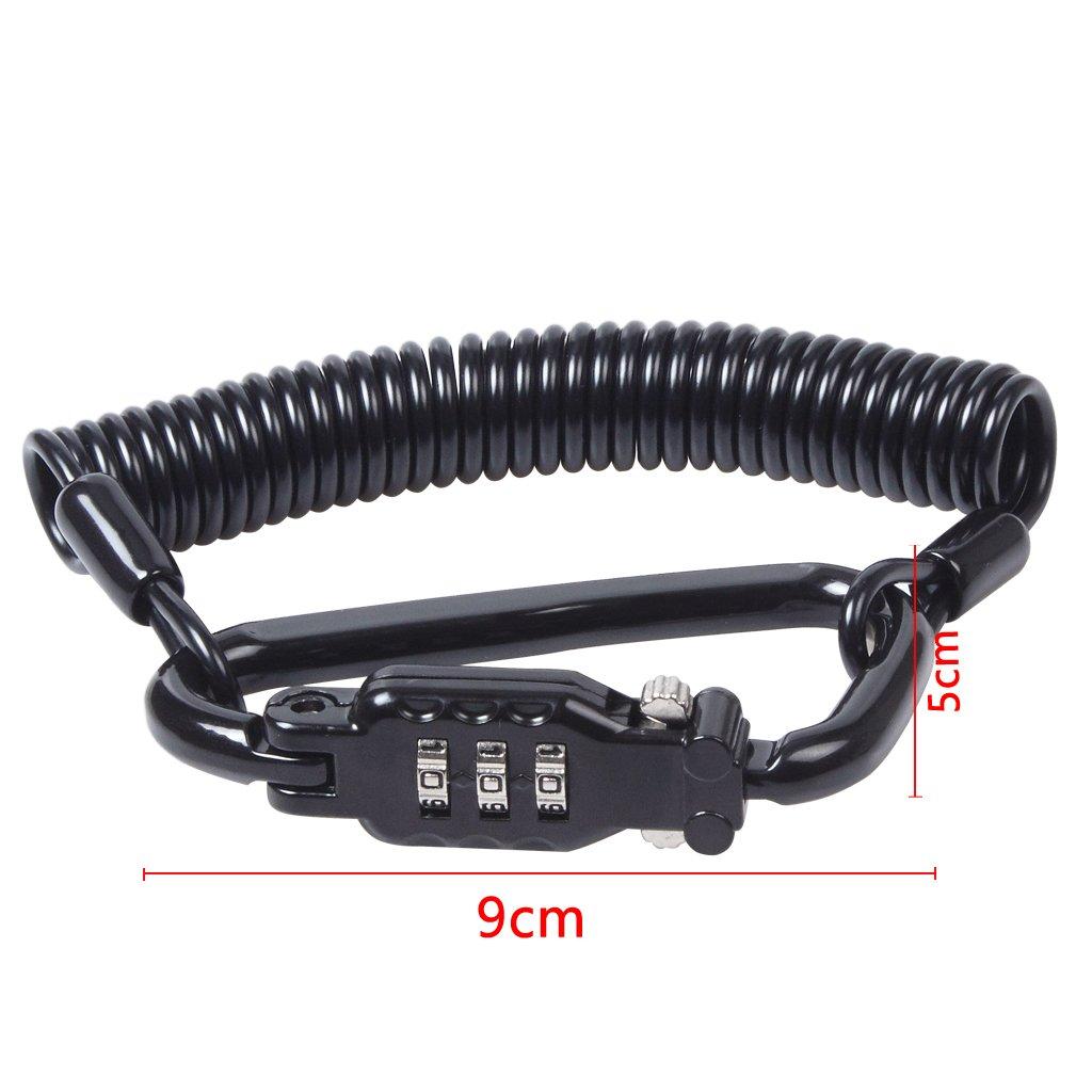 Blocco per caschi serratura a codice a 3 cifre EFORCAR per motocicletta e 6 cavi in acciaio per la sicurezza dei caschi