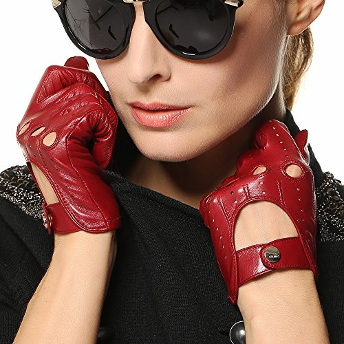 Elma Tradional Women's Italian Nappa Leather Gloves Motorcycle Driving Open Back (L, Burgundy) by ELMA