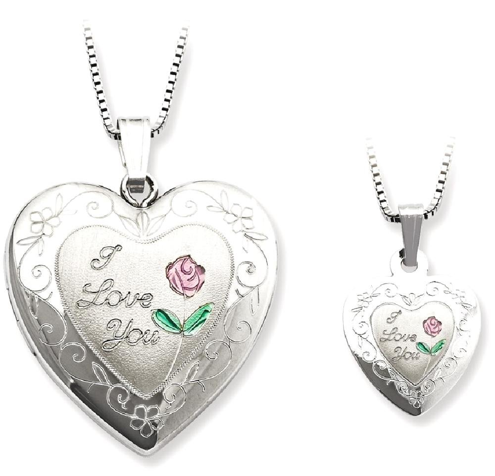 ICE CARATS 925 Sterling Silver Rose I Love You Heart Locket Pendant Chain Necklace Set