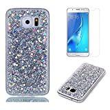 Fit for Samsung Galaxy S7 Edge Case with Screen Protector,OYIME Slim Rubber [Glitter Silver Sequins] Shiny Bling Luxury Design Scratch Resistant Protective Back Cover with Clear Transparent Bumper