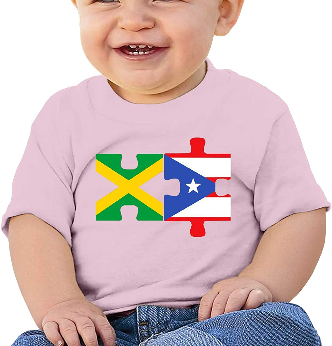 Jamaica Puerto Rico Flags Toddler Short-Sleeve Tee for Boy Girl Infant Kids T-Shirt On Newborn 6-18 Months Black
