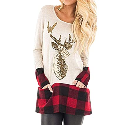 8e8a3a031b06f Amazon.com   Franterd Christmas Plus Size Tops Women Christmas Plaid Splice  Hem Sequin Reindeer Pullover Sports Blouse for Jeans Legging   Sports    Outdoors