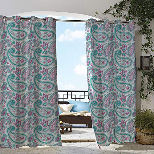 - Linhomedecor Balcony Waterproof Curtains Aqua Paisley Teardrop Shaped Spring Themed Floral Illustration Pale Fuchsia Dark Seafoam and Seafoam pergola Grommet Patterned Curtains 96 by 96 inch