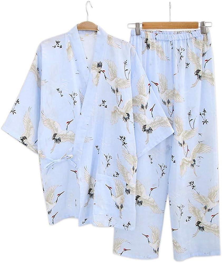YTFOPLK Grúa Fresca De Verano, Bata De Algodón, Kimono, Pijama para Mujer, Juegos Japoneses, Albornoces De Interior, Batas Yukata para Mujeres, Azul-M: Amazon.es: Ropa y accesorios