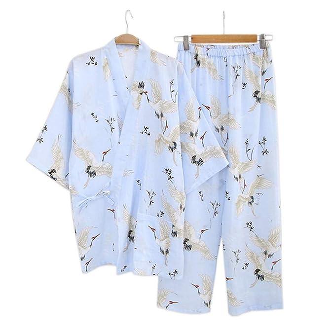 YTFOPLK Grúa Fresca De Verano, Bata De Algodón, Kimono, Pijama para Mujer, Juegos Japoneses, Albornoces De Interior, Batas Yukata para Mujeres, ...