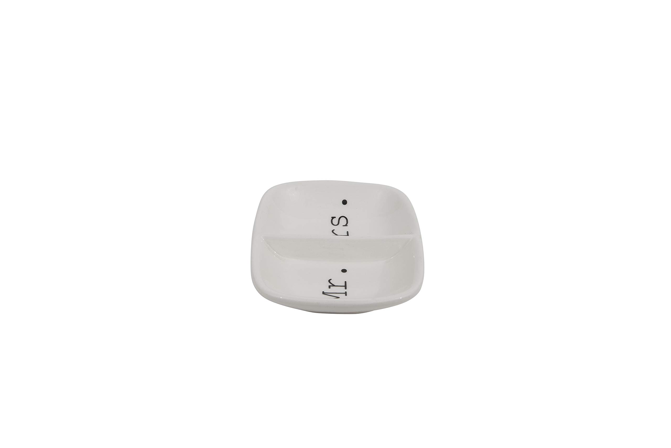 Creative Co-Op Ceramic ''Mr. & Mrs.'' Two Section Dish, White by Creative Co-op (Image #4)