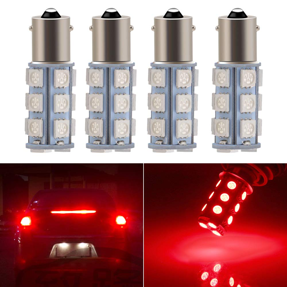 Everbright 4-Pack Red 1156 BA15S / 1141 / 1073 / 1095 Base 18 SMD 5050 LED Replacement Bulb For RV Camper SUV MPV Car Turn Tail Signal Bulb Brake Light Lamp Backup Lamps Bulbs High LUMS (DV-12V)