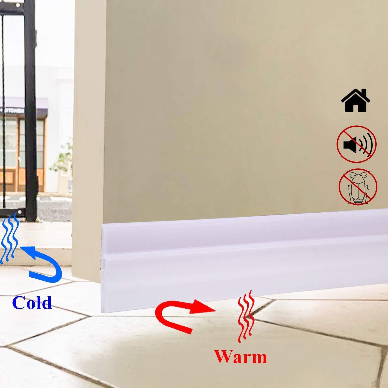 YIPINTANG Under Door Seal, Door Draft Stopper Noise Stopper, Strong Adhesive Door Weather Stripping Energy Saver - 2'' Width x 47'' Length (White)