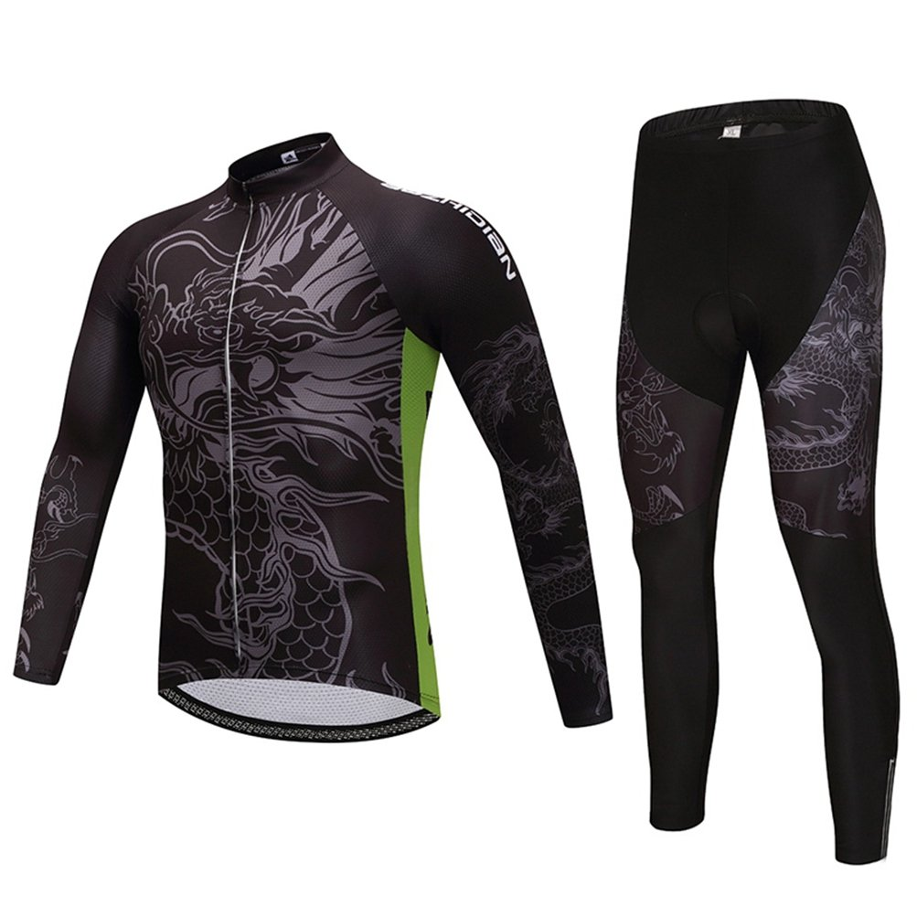 Uriah Men 's Cycling Jersey Long Sleeve and 3dジェルパッド入りパンツセット B07875QWNL S(CN)|Ancient Dragon Ancient Dragon S(CN)