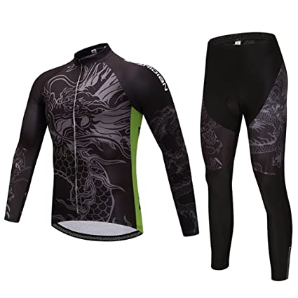 8677044a5 Uriah Men s Cycling Jersey Long Sleeve and 3D Gel Padded Pants Sets Ancient  Dragon Size S