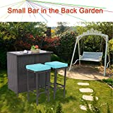 HTTH Outdoor Bar Set 3-Piece Expresso Wicker Patio