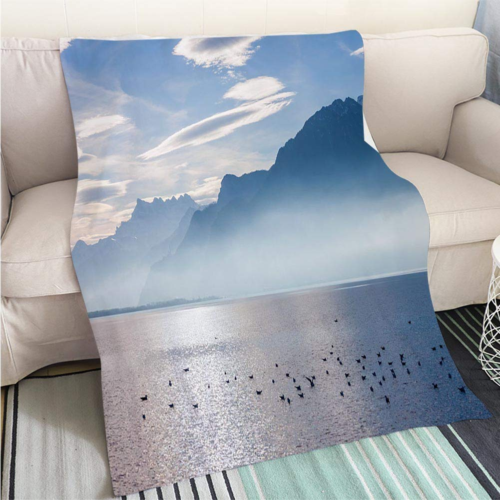 color3 47 x 59in BEICICI Comforter Multicolor Bed or Couch View on The Rock Sella del Diavolo in Cagliari Art Blanket as Bedspread gold White Bed or Couch