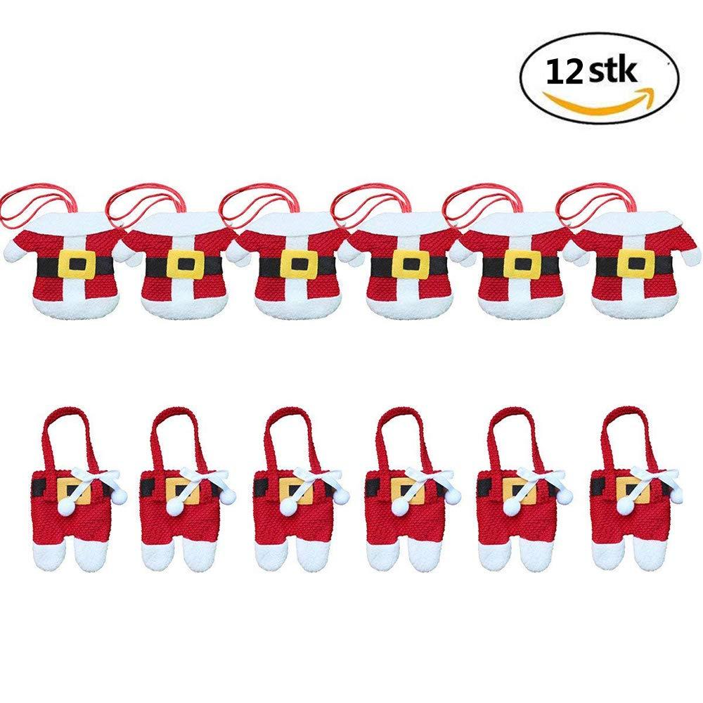 CSDSTORE 12 pezzi (6 mani + 6 pantaloni) Decorazioni per la tavola di Natale Supporto per posate di Babbo Natale Supporti per posate per cena CHBOP