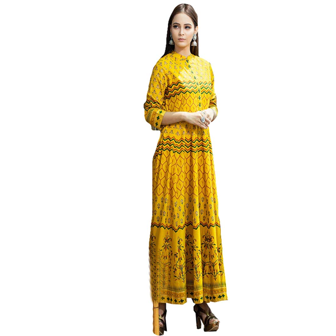 e388f3e8e3 Mio Belle Yellow Color Pure gold printed Gown on Rayon Gowns (Full  Stitched): Amazon.in: Clothing & Accessories