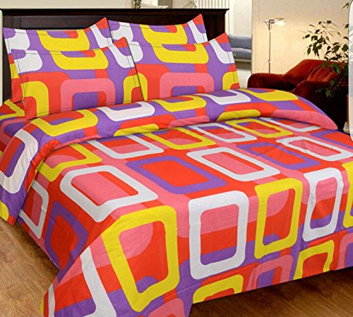 HighLife Ahmedabad Cotton Superior Cotton Double Bedsheet With 2 Pillow Covers – Magic Multicolor