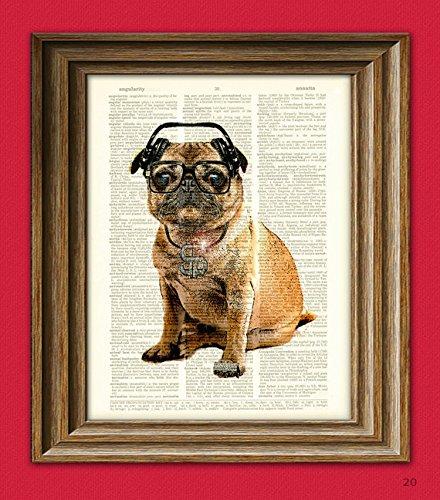 Pug DMC Hip Hop Pug With Iced-Out Bling and DJ Headphones Original Art Vintage Dictionary Page Book Art Print 3