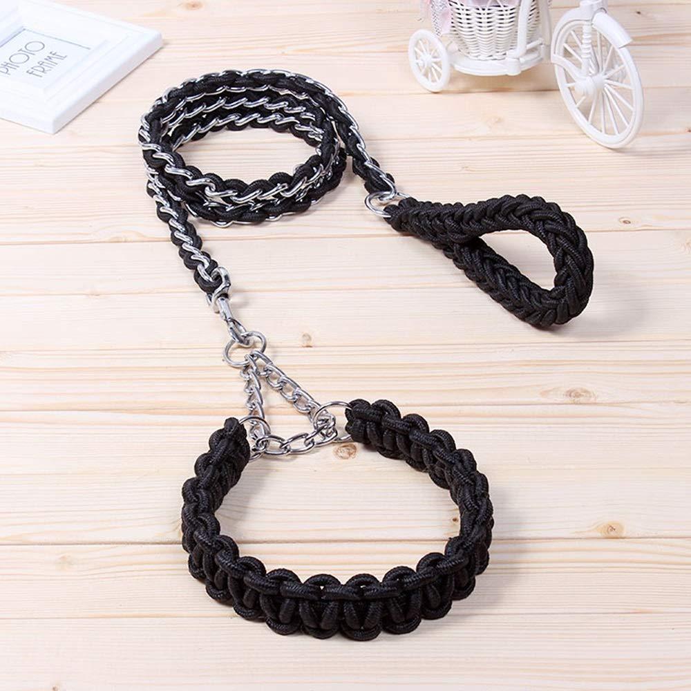 Black XlHemp Rope Dog Chain Iron Chain Traction Rope Lengthened golden Hair Samo Alaska Medium and Large Dog Leash Collar Strong Antibite (color   Purple Black, Size   XL)