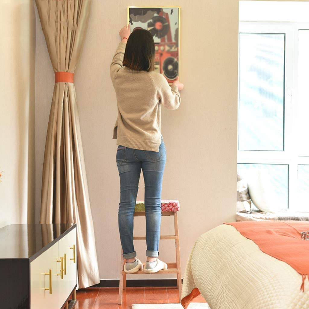 GQQ Ladders,Household Foldable Stool, Wooden Adult Step Stool Living Room Entrance Change Shoe Bench Guitar High Stool,B E