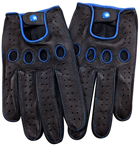 Genuine Nappa leather Driving Gloves Touchscreen Full finger Cycling Gym XL Bu by Livativ
