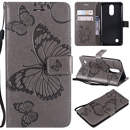 NOMO LG K20 Plus Case,LG K20 V Case,LG Harmony Case,LG K20 Plus Wallet Folio Flip PU Leather Butterfly Case Cover with Credit Card Holder Slots Kickstand Phone Case for LG Grace/LV5/K10 2017,Gray - Inner Grace Skin Care At