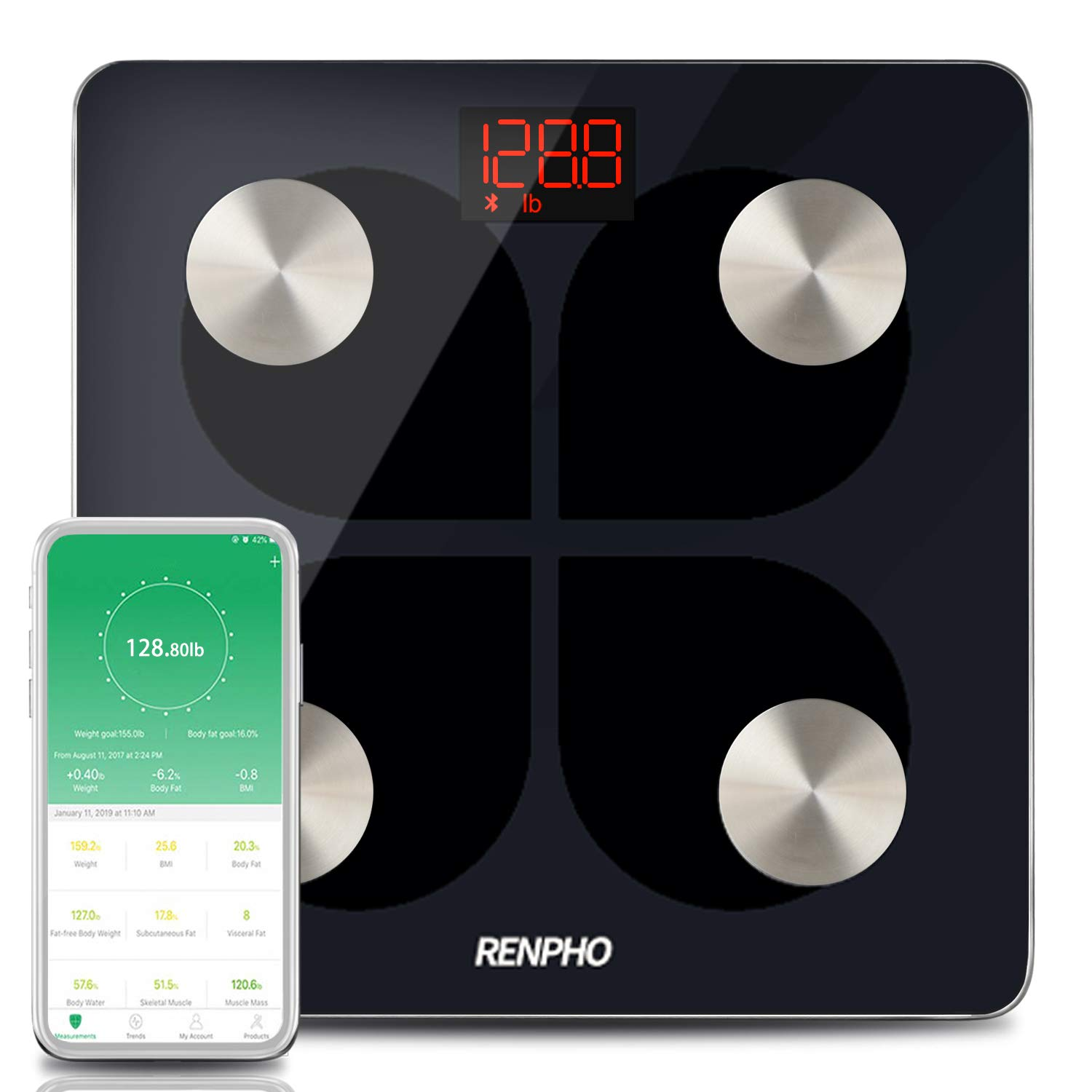 RENPHO Digital Smart Bluetooth Scale USB Rechargeable Bathroom Body Fat Monitor with iOS &Android Smatrphone App, 396 lbs