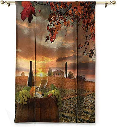 DONEECKL Winery Decor Collection Insulated Sunshade Roman Curtain White Wine with Barrel on Vineyard at Sunset in Chianti Tuscany Italy Landscape Print Noise Reducing W48 xL72 Orange Green