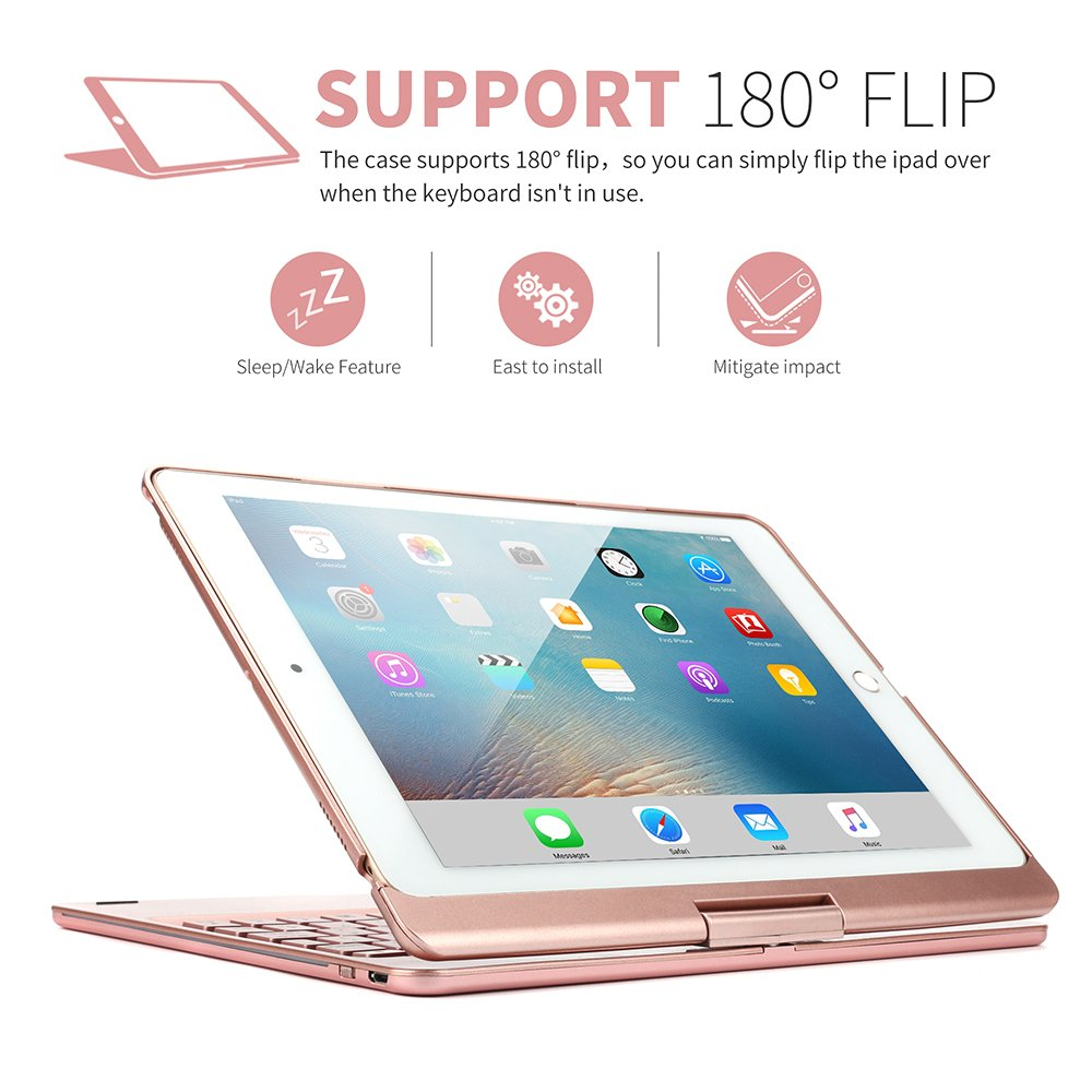 Sammid Bluetooth Keyboard Case for 2018 New iPad 9.7, 360 Degree Rotation with Multiple Angle Viewing Keyboard Case Smart Auto Sleep-Wake Cover for 9.7 inch 2017/2018 New iPad - Rose Gold by Sammid (Image #2)