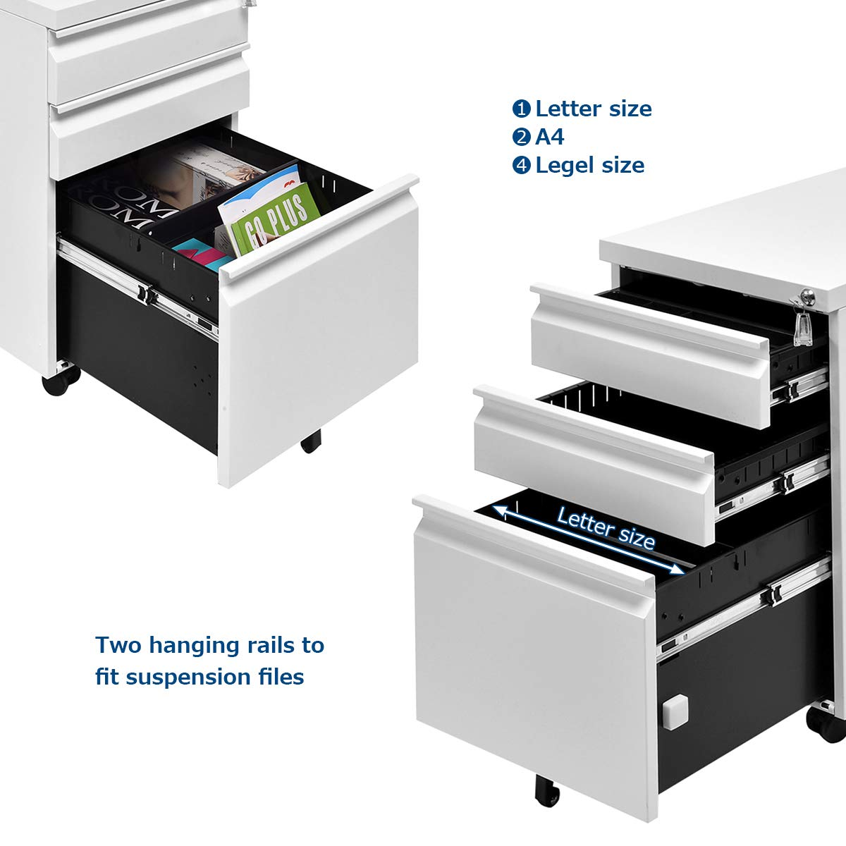Giantex Rolling Mobile File W/3 Lockable Drawers and Pedestal for Office Study Room Home Steel Storage Cabinet (White) by Giantex (Image #4)
