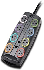 Kensington SmartSockets 8-Outlet, 8-Foot Cord, & 3090 Joules Premium Surge Protector (K62691NA)