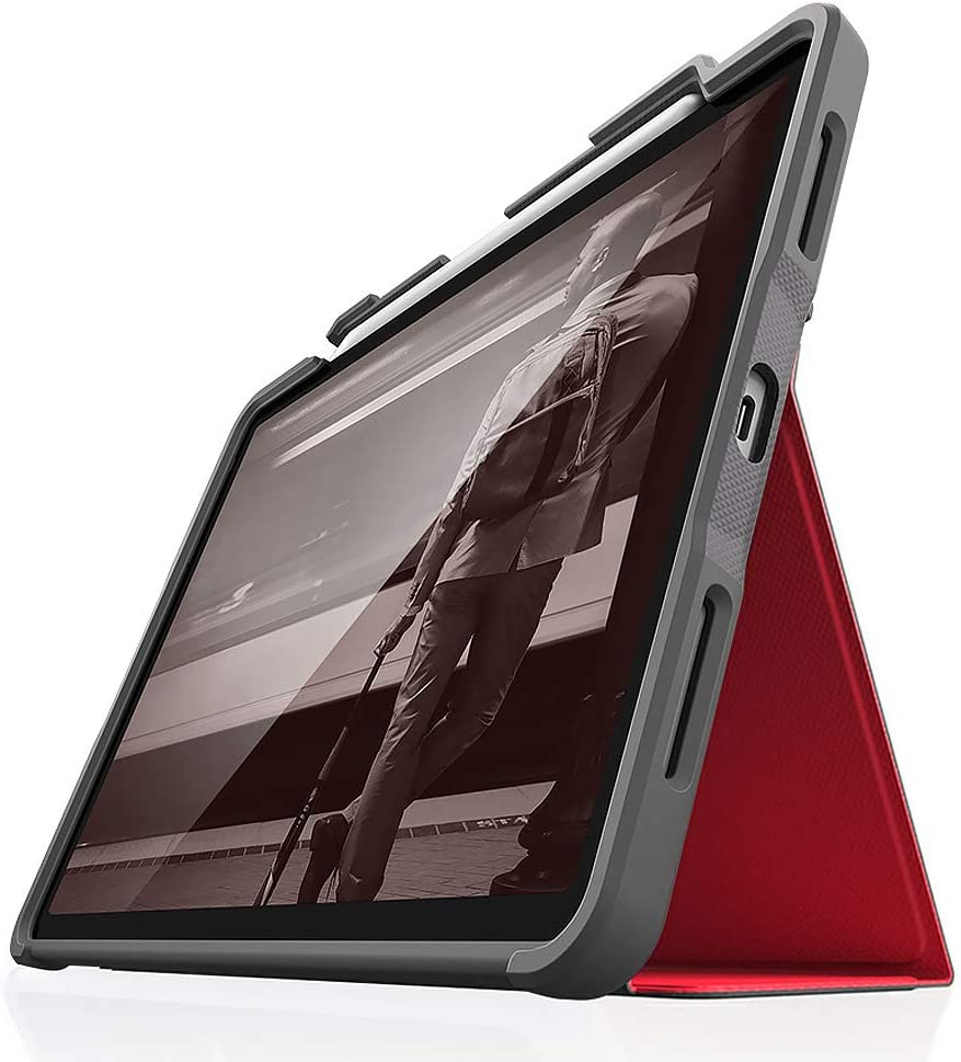 STM Dux Plus 12.9 Inch Folio Case for Tablet (Folio, Apple, iPad Pro 12.9 (2018), 32.8 cm (12.9 Inch), 332 g, Red, Transparent)