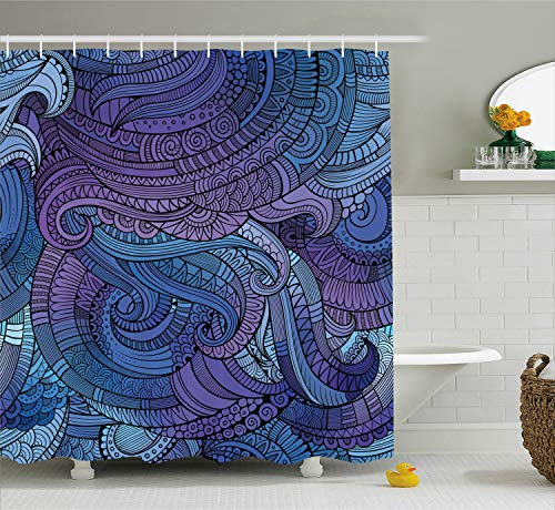 Ambesonne Abstract Shower Curtain, Undersea Ocean Inspired Graphic Arabesque Paisley Swirled Hand Drawn Ethnic, Fabric Bathroom Decor Set with Hooks, 75 Inches Long, Purple Blue