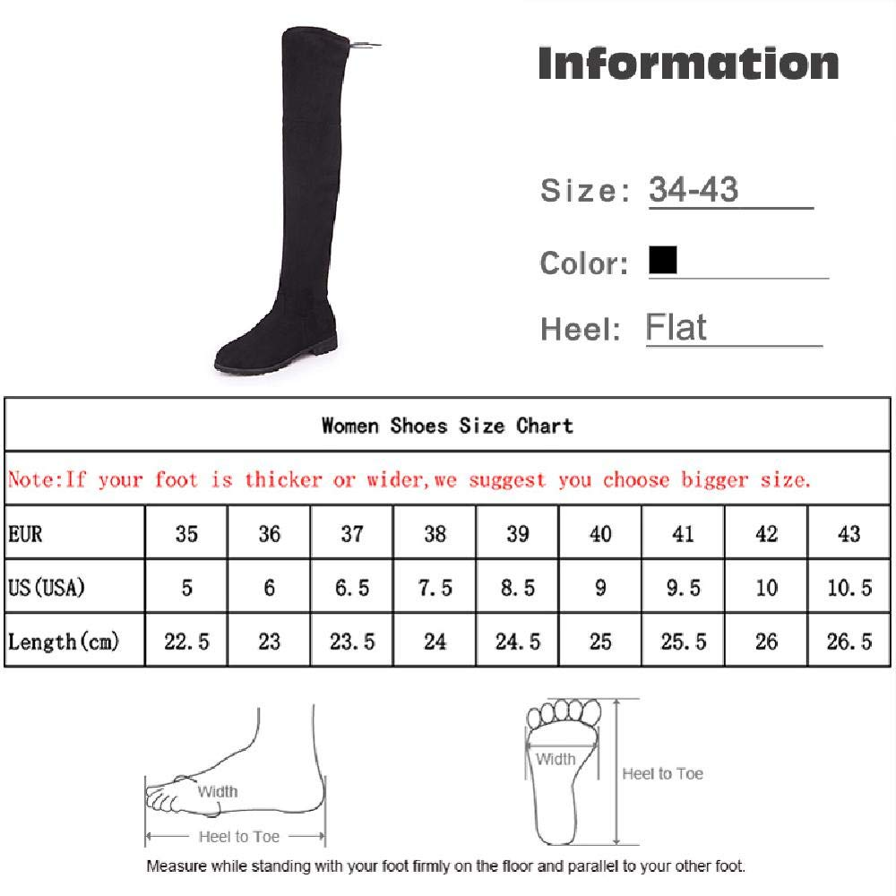 MZjJPN Women Over The Knee Boots Plus Size Low Heel Shoes Platform Zipper Bowtie Footwear Thigh High Boot