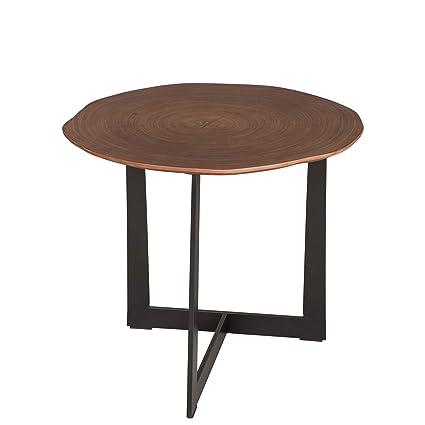 Cool Glitzhome Modern Tree Ring Walnut Veneer Side Table Mushroom Like Shape Coffee Table Download Free Architecture Designs Ferenbritishbridgeorg