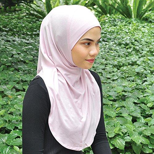 Silk Story One piece al amira Hijab Instant Head Scarf Cotton Lycra (Baby Pink) ()