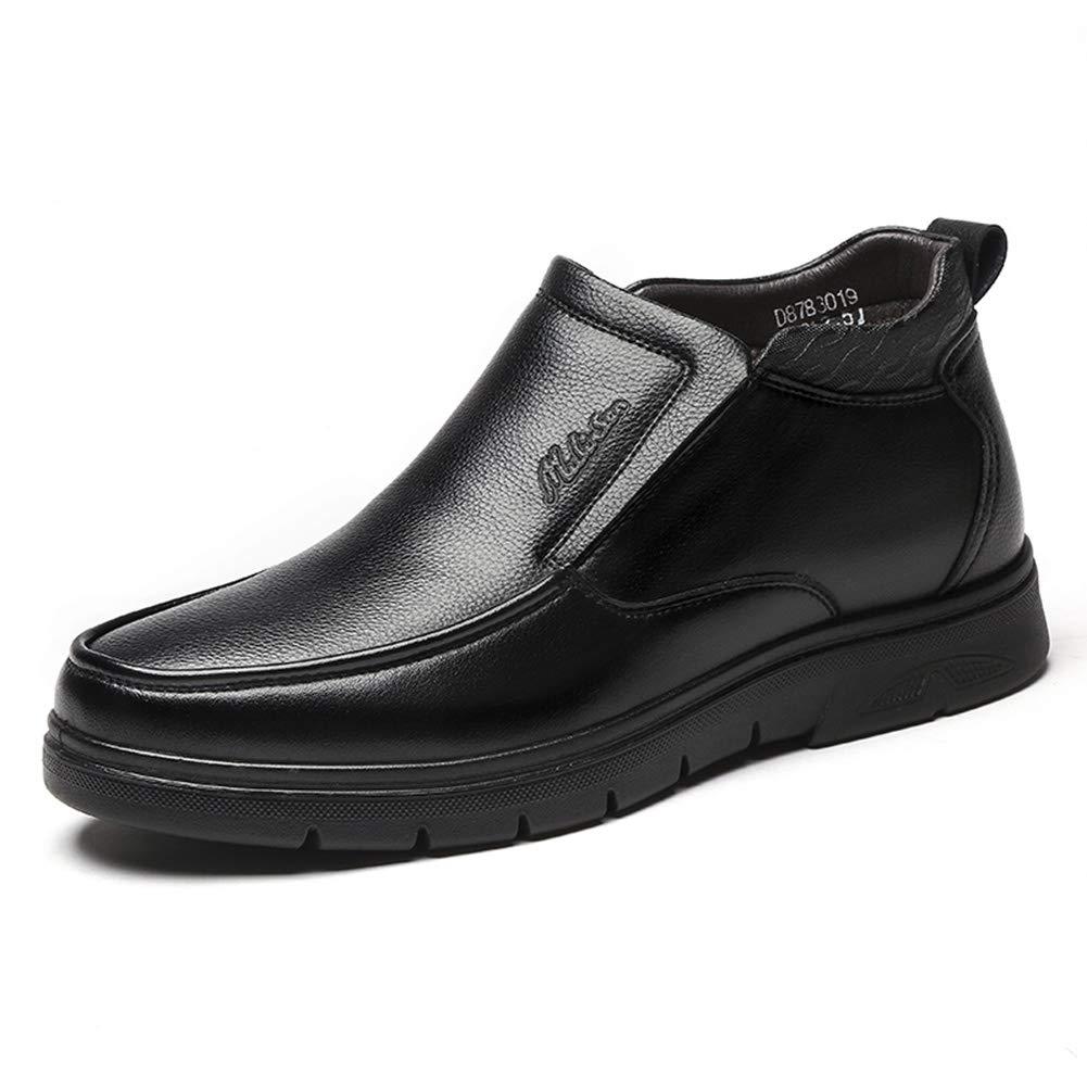 LXLA - Herren Winter High-Top Business Lederschuhe, Herren Slip-on Plus Samt warme Schuhe für Männer (Farbe   SCHWARZ, größe   8 US 7 UK)