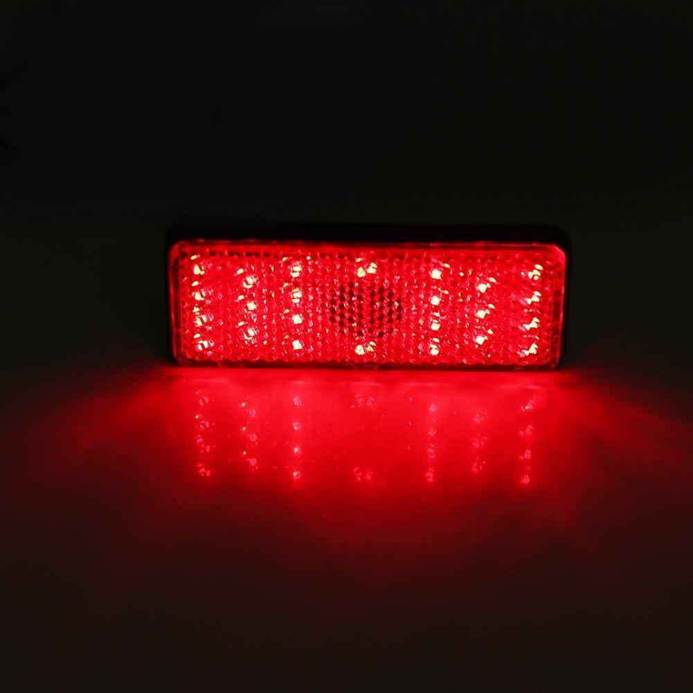Zyurong 24 SMD LED Car Rear Tail Light Indicator Lamp Atv LED Reflectors Motorcycle Square Reflector Tail Brake Turn Signal Light Lamp Red