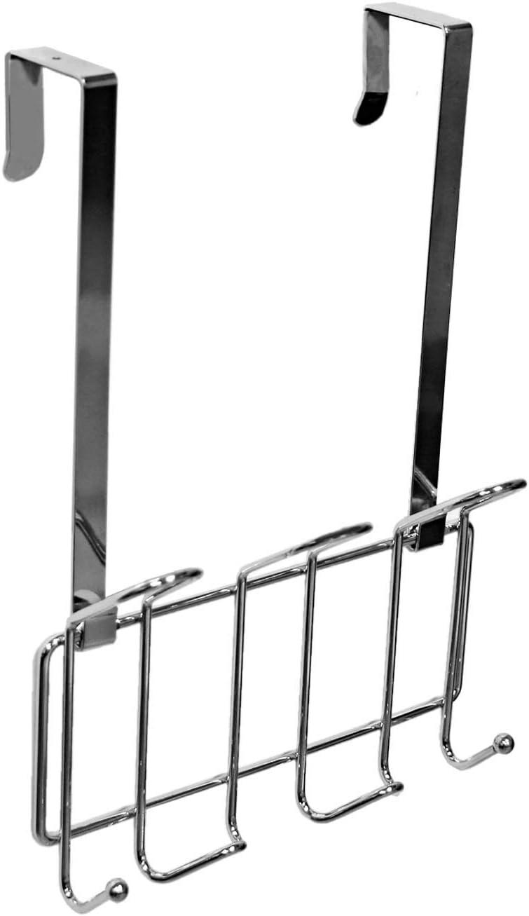 Minggoo Coat Rack Wall Mounted Hook Rack Over The Door Hook Organizer 7 Hooks, Heavy-Duty Chrome